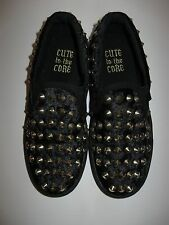 Cute to the Core Black Gold Spike Stud Tennis Shoe 90's Style Crushed Velvet 7
