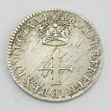 1689 William & Mary Maundy 4d Four pence Coin