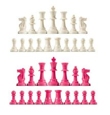 Staunton Single Weight Chess Pieces - Full Set of 34 White & Pink -  4 Queens