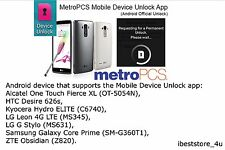 Metro PCS Android App Device Unlock samsung galaxy grand prime SM-G530T1