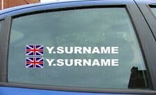 x4 Rally Race Tag Name Surname Car Window Stickers Decals Union Jack Flag ref:5