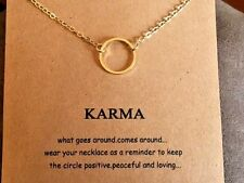 """Karma Circle Necklace gold dipped Gift 16-18"""" forever love wish popular stocking"""