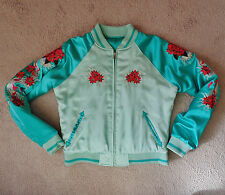 Ladies Aqua Green Satin Reversible Jacket Womens Embroidered Geisha Girl Flowers