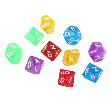 10pcs Set Games Multi Sides Dice D10 Gaming Dices Game Playing 5 Color RD