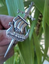 Silver Iona Celtic Sword / Viking Ship Brooch  Iain MacCormick / A Ritchie 1960s