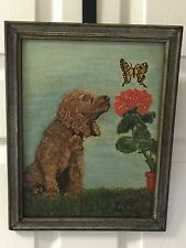 Antique Vintage Oil On Canvas Cocker Spaniel Dog Painting With Geranium Signed