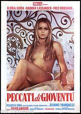 PECCATI DI GIOVENTU' MANIFESTO CINEMA GLORIA GUIDA EROTICO SEXY 1975 POSTER 4F
