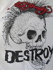 ED HARDY White Embellished Punk Not Dead Destroy T-Shirt Men's Size 2X XXL