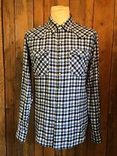 vtg LEVIS flannel WESTERN cowboy SHIRT medium 40 chest WHITE tab SLIM FIT smart