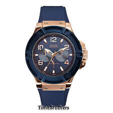 NEW GUESS WATCH for Men * Blue Face Ring Dial Strap * Rose Gold Tone * U0247G3