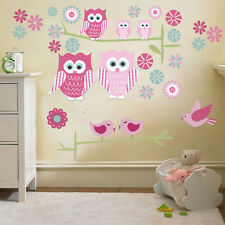 Childrens Cute Owls Twit Twoo Wall Stickers Decals Nursery Girls Room Kids