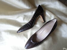 VINTAGE BRUNO MAGLI CROCODILE LEATHER PUMPS HEELS,COURT SHOES 1980 BROWN 38 uk5
