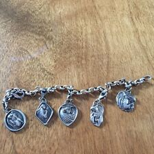 Vintage Sterling Silver Charm Bracelet with 5 Religious Sterling Charms