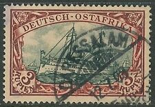1901 German colonies EAST AFRICA  3 Rupien Yacht issue used, Michel # 21 a € 450