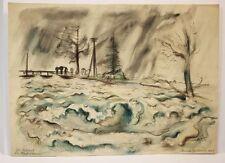 Arnold HEIDERICH (*1901 Schwarzwald) - Die Ostrach bei Hochwasser (8/11)