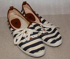H&M Striped lace up Blue and White flats Women's US size 7 UK size 38