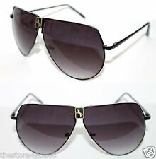 Men's Women's XL Aviator Black Frame Sunglasses Horse Logo Metal Large Retro