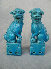 2 IMPRESSING ANTIQUE GUARDIAN LION SHI FOO DOG TEMPELWÄCHTER TÜRKIS CHINA 20.Jh.