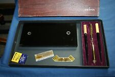 Vintage Sheaffer's 2 Fountain Pen Desk Set White Dot 14K Gold Nibs