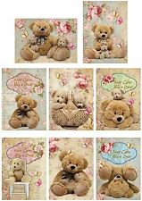 Vintage inspired 8 teddy bears keep calm hug a bear small cards scrap booking