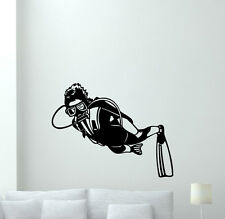 Diver Wall Decal Diving Sport Gym Vinyl Sticker Nautical Bathroom Decor 164hor