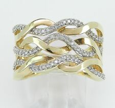 14K Yellow Gold Wide Diamond Anniversary Ring Multi Row Wedding Band Size 7