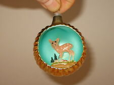 3D Diorama Deer Italy Antique Glass Vintage Christmas Ornament Decoration 1950's