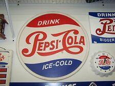 "PEPSI-COLA VINTAGE LOOK LARGE BARREL LID SHAPE SIGN 18"" ACROSS"