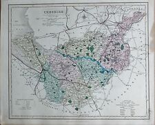 1845  LARGE ANTIQUE COUNTY MAP - RAILWAYS, CHESHIRE NANTWICH MACCLESFIELD WALLAS