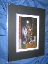 HAUNTED MANSION Signed Art Print Larry Dotson~Disney Exclusive CARETAKER & DOG