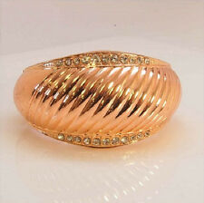 Rose Gold Bangle With Clear Rhinestones