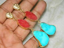 Gold Edged Druzy Agate Slice Earring with Howlite turquoise,Natural Druzy Slice