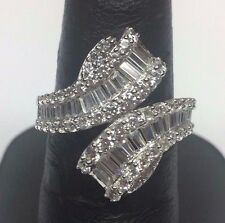 Ornate Sterling Silver 925  Round & Baguette CZ Wrap Swirl Cocktail Ring Sz 7.25