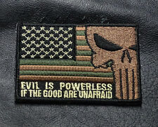 POLICE USA FLAG PUNISHER EVIL IS POWERLESS IF GOOD POLICE SWAT ARMY HOOK PATCH