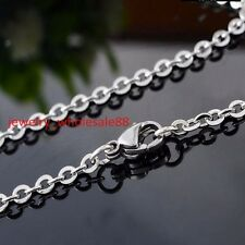 5pc in bulk Stainless Steel Silver Cross Oval link chain necklace Tiny 2mm 18''