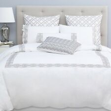 Sky Embroidered Frame White Twin Comforter Cover and Sham Set White N308