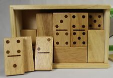 WOODEN DOMINOES SET Large Double Six Pieces Storage Case NEW Traditional Game