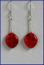 Unusual STERLING SILVER 925 EARRINGS Bright Red CZECH GLASS Hand Made Mod Style