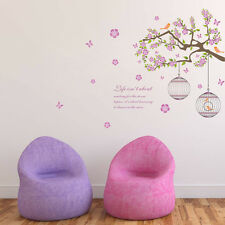 Bird Cage Tree Branch Wall Art Sticker pvc Decal Removable Home Decor Mural Kids