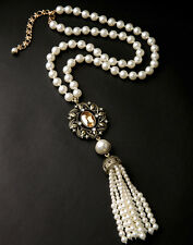 Vintage Rope Pearl Chain Long Tassel Pendent Necklace Celestial Horoscope Topaz