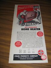 1947 Print Ad Evans Oil-Burning Home Heaters Made in Plymouth,MI