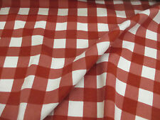 4 Metres White & Red Checked 100% Brushed Cotton Flannel Fabric.