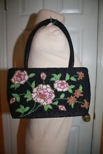 """BEAUTIFUL Blacked Beaded Handbag with Pink Floral Design 10"""" W x 6"""" H x 3"""" D"""
