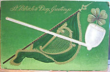 St Patrick's Day Greetings Postcard Irish Clay Pipe Green Harp Flag Banner 1910