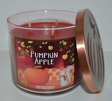 BATH & BODY WORKS PUMPKIN APPLE SCENTED CANDLE 3 WICK 14.5OZ LARGE RED CINNAMON
