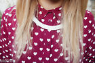 Topshop Burgundy Red Valentine Heart Print Blouse Shirt - Size 8