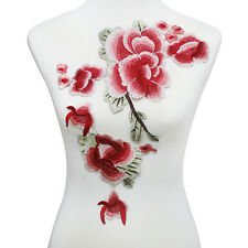 Red Pink Flower Patch Floral Embroidery Patches Lace Venice Applique Motif Diy
