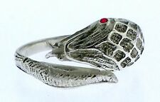 Rattle Snake ring  .925 Sterling w. Ruby Eyes - One size fits all  6-11