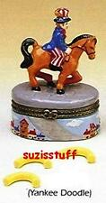 YANKEE DOODLE DANDY-Porcelain Hinged-Box-with TRINKET OF MACARONI-PATRIOTIC SONG