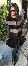 New designer Custom 2 tone Gray& Sable brown Mink fur Vest coat dress jacket S-4